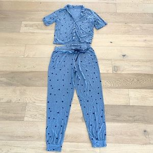 Love by gap heart pajama set blue top xs bottoms small